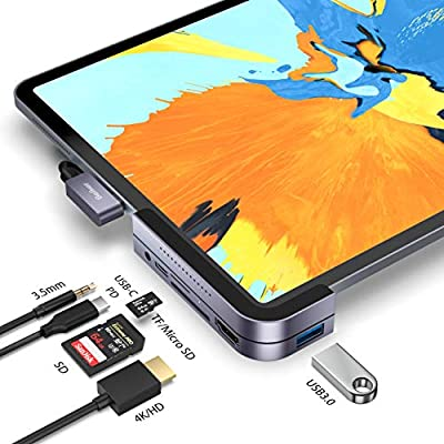 Maxonar USB C Hub for ipad Pro 2018 2019 2020 6 in 1 Docking Station Hub with USB 3.0(5Gb/s),USB C,4K HDMI,SD/Micro-SD,3.5mm Audio Jack for iPad Pro 2018/2019/2020-Space Grey