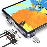 Belkertech USB C Hub für iPad Pro 2018 6 in 1 Typ C Hub mit USB 3.0 (5 Gbit/s), USB C, 4K HDMI, SD/Micro-SD, 3,5-mm-Audioanschluss Kompatibel mit iPad Pro 2018-Space Grey