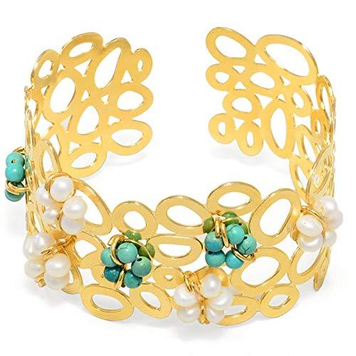 Bracelete Bolas Vazadas Com Flores Turquesa E Pérola