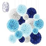 Flores de Pompones, Speyang Pompones de Papel de Seda, Flores Papel Seda, Papel Bolas, 16 Piezas para Decoración de Cumpleaños, Festivalesbodas, Baby Shower, 6'', 8'', 10'', 12'' (azul)