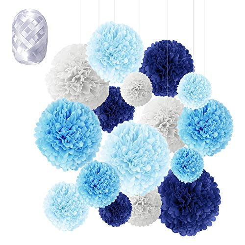 Pompons Papier, Speyang 16 Stück Seidenpapier Pompons Bunt, Blumen Ball Dekorpapier Pompom Deko für Geburtstag Hochzeit, Baby Dusche, Parteien (Blau)