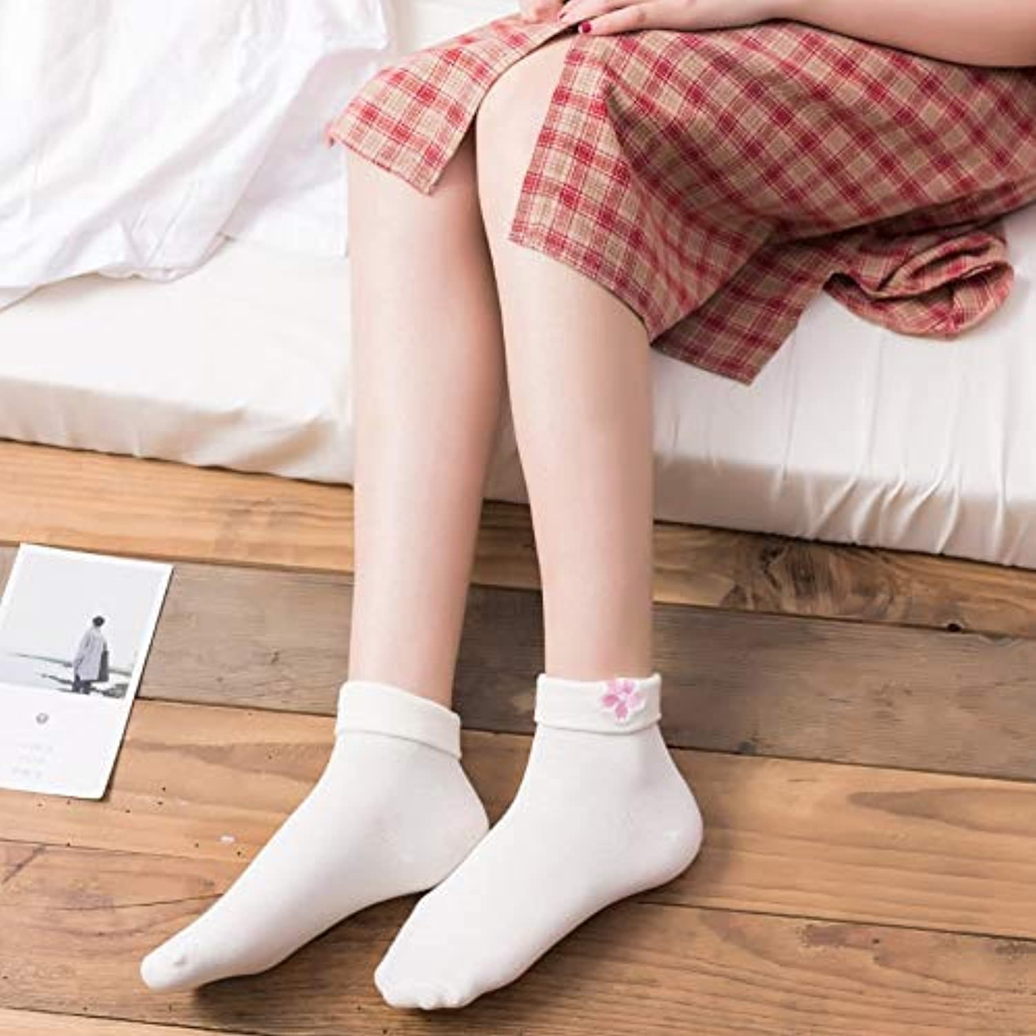 Comfortable Arm Warmer Leg Stocking Home Japanese Cuffed Embroidery Cherry Tube in The Tube Socks (color   White)