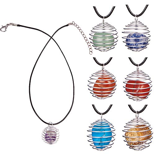 SUNNYCLUE 7pcs Healing Crystal Chakra Stone Gemstone Beads Amethyst Rose Quartz with 7pcs Round Iron Spiral Bead Cage Pendants & 19inch Necklace Reiki Energy Set
