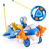 Liberty Imports My First RC Cartoon Car Vehicle 2-Channel Remote Control Toy - Music, Lights and Sound for Baby, Toddlers, Kids (Airplane)
