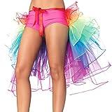Colorful House Women's Festival Costume Rainbow Bustle Petticoat Party Skirt