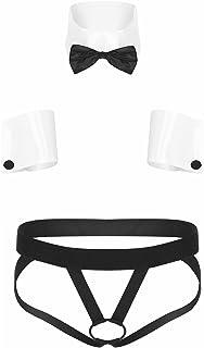 Zaldita Men's 3PCS Gentleman Tuxedo Lingerie O Ring Hollow Out Jockstrap Enhanced Underwear