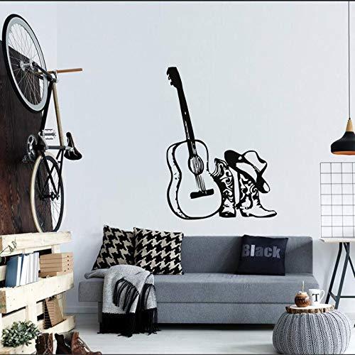 yaonuli Muziek gitaar & hoed laarzen vinyl muursticker mode stijl decoratieve muur schilderij sticker akoestische sticker