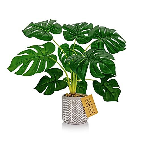 Hidebloom - Kunstpflanzen im Topf - 45cm - Kunstpflanze Monstera - Künstliche Pflanzen Groß - Monstera Deko - Plastikpflanzen - Pflanze Künstlich - Kunstpflanzen Groß - Unechte Plastik Pflanze