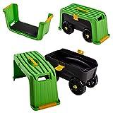 UPP Carrito y asiento de jardín multifunción, carro de transporte y para herramientas I trolley de jardín y patio, trabajar sentado o arrodillado con comodidad