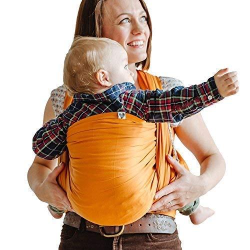 Shabany® Babytragetuch - 100% Bio Baumwolle - Für Neugeborene Kleinkinder bis 15 Kg - Gewebt - inkl. Baby Wrap Carrier Anleitung - orange (likes)