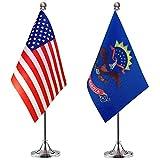 WEITBF North Dakota State Desk Flag Small Mini North Dakota State Office Table Flag with Stand Base,2 Pack