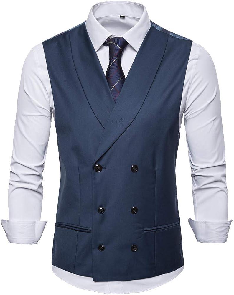 Elegeet Men's Double Breasted Shawl Lapel Suit Vest Paisley Pattern Back Business Formal Dress Waistcoat