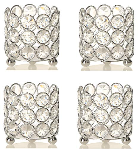 Simcs Handicrafts Set of 4 Crystal Tealight Votive Candle Holders Wedding Table Centerpieces Home Decoration for Living Dining Room Housewarming