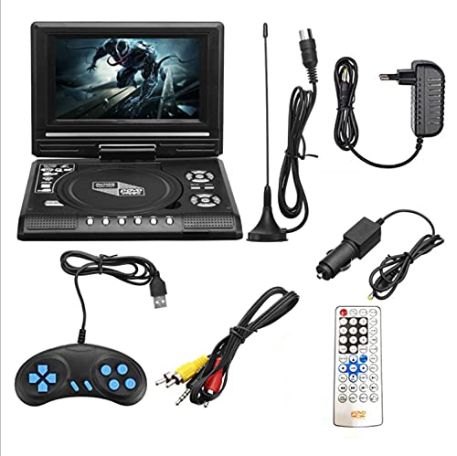 8 'Reproductor de DVD portátil con pantalla giratoria HD, reproductor de DVD portátil de rotación gratuito 270 ° / con cargador de automóviles Gamepad Player DVD personal Reproductor de DVD móvil