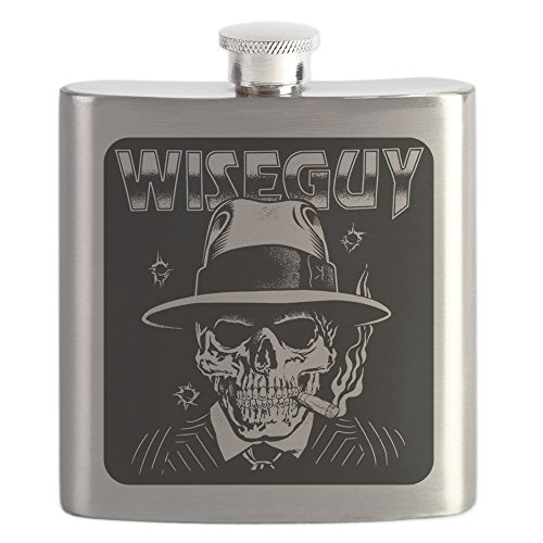 Hip Flask Wiseguy Skeleton Smoking Cigar