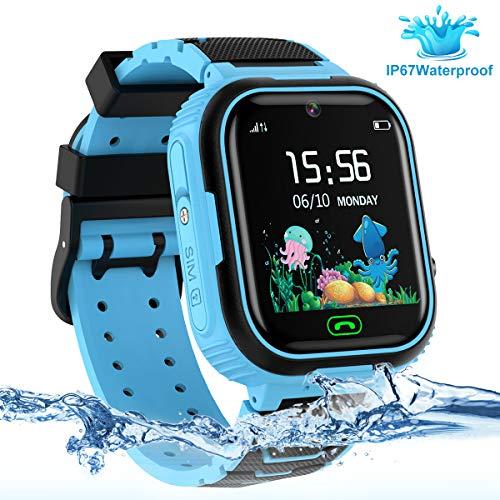 LDB Reloj Inteligente para Niños, SmartWatch Niños GPS/LBS Tracker SOS Impermeable Pantalla Táctil Llamada Bidireccional cámara de 3-12 Años Perfecto Regalo de Cumpleaños para Niños Niñas