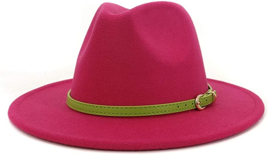 Men Women Wide-Brimmed Cotton Fedora Formal Party Hat Fedora Hat Panama Straw Jazz Hat Autumn Winter 2020 Formal Hat (Color : Magenta, Size : 56-58cm)