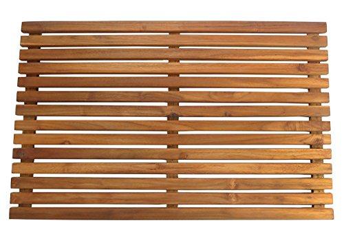 "SeaTeak 60022 Teak Shower or Door Mat, Oiled Finish, Rectangular, Large, 31-1/2"""" l x 19-3/4"""" w x 1-3/4"""" h"
