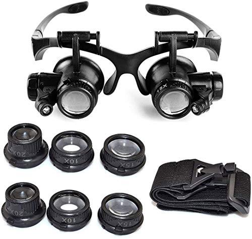 Dsnmm 10X 15X 20X 25X Magnifier degli Occhi Occhiali Lente di ingrandimento LED vigilanza del gioielliere di Riparazione + 1pcs Starcrafter Regalo