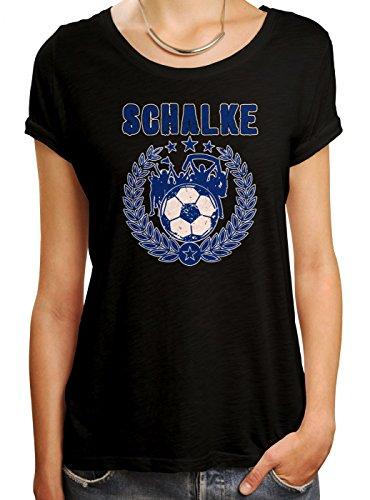 Schalke #3 Premium T-Shirt Fussball Fan-Trikot Der 12. Mann Frauen Shirt, Farbe:Schwarz (Deep Black L191);Größe:L