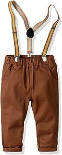 HOSD Pantalones de algodón de Peine de Primavera y otoño Pantalones elásticos para niños Pantalones Delgados con Correa pa...