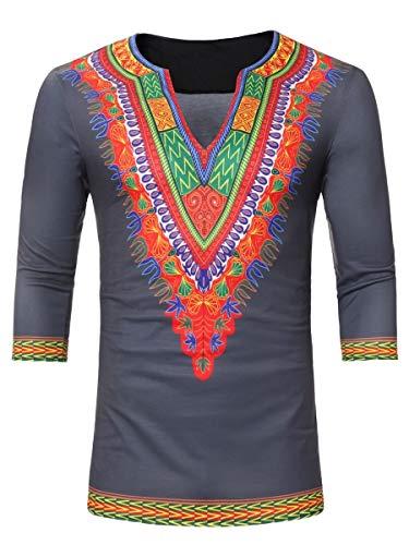 DressUMen Medio de la manga estilo étnico v cuello ocasional dashiki africano camiseta para Hombres Gris XL