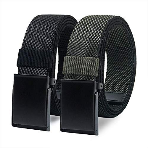 WYuZe 2 Pack Elastic Stretch Men Belt Casual Nylon Golf Belt Military Metal Buckle, Black and Olive Belt
