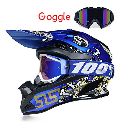 LEENY Casco Motocross, Estilo Cráneo Azul Casco de Moto con Gafas Pro