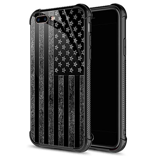 iPhone 8 Plus Case, Black and White American Flag iPhone 7 Plus Cases, Tempered Glass Back+Soft Silicone TPU Shock Protective Case for Apple iPhone 7/8 Plus