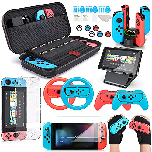 Switch Accessories Bundle, innoAura 20 in 1 Switch Accessories Kit Include Wrist Straps, Switch Carry Case, Joycon Charging Dock, Joycon Grips & Racing Wheels