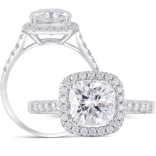 DovEggs Solid 14K White Gold Center 2ct 7.5mm G-H-I Color Cathedral Set Cushion Cut Created Moissanite Halo Engagement Ring with Accents(5.5)