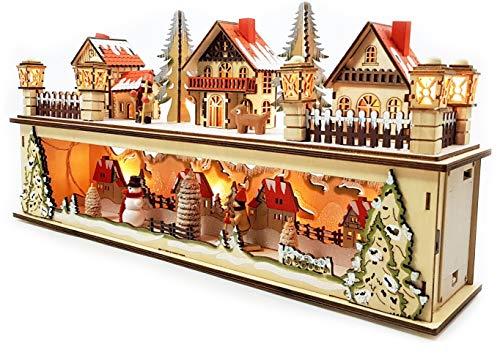 Wichtelstube-Kollektion LED Holz Lichtersockel mit Timer Schwibbogen Weihnachtsdorf im Erzgebirge Podest mit Timer schwibbogen Schwippbogen