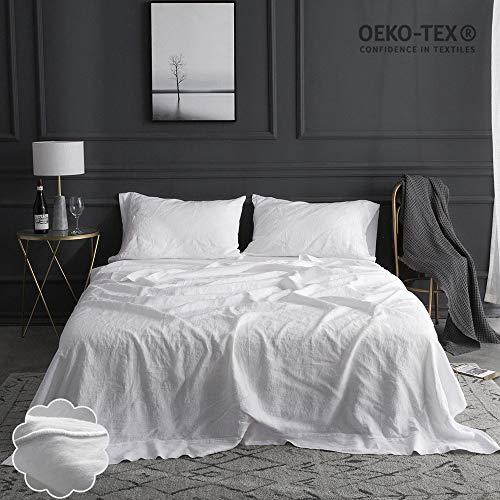 Simple&Opulence 100% Linen Sheet Set Embroidery(King,White)