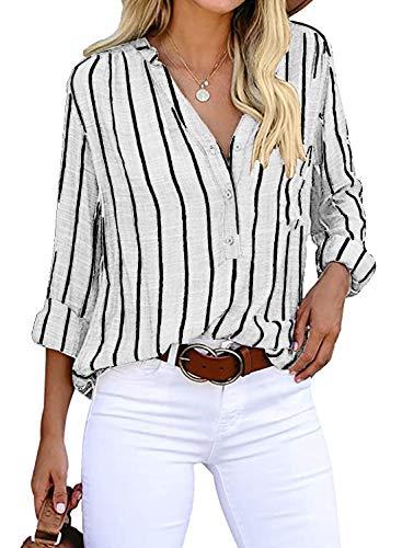 Cindeyar Bluse Damen Langarm Streifen Oberteile Casual Langarmshirt Tops Lose Baumwolle Tunika Hemd (XL, Weiß)