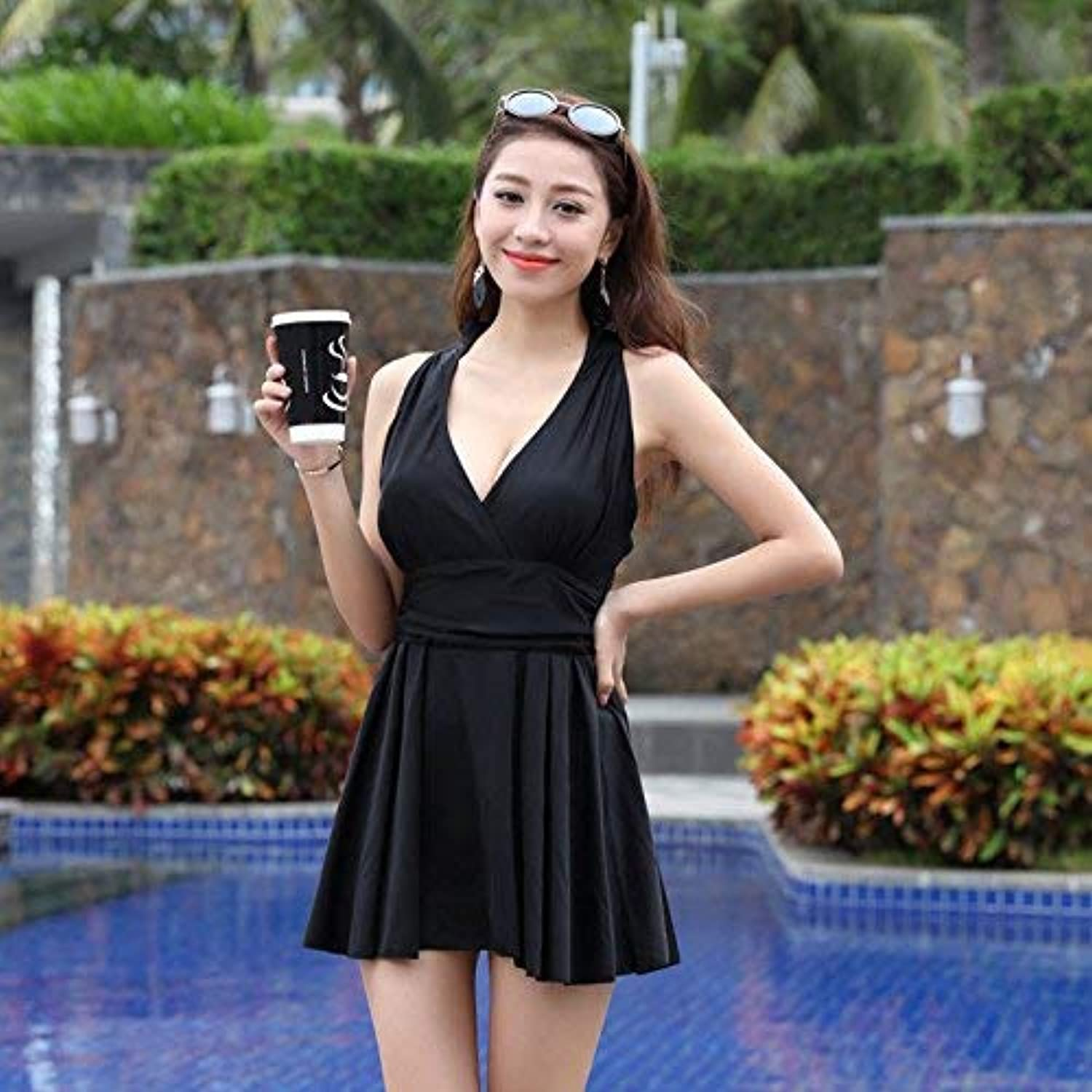 Spa Swimsuit Split Swimsuit Sexy VNeck Back As High Waist Video Thin,89991,L (color   As Shown, Size   One Size)