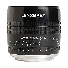 "Focal Length: 56mm Aperture: f/1.6 Dimensions: 3.34"" (8.53cm) high x 2.8"" (7.2cm) wide Lens ""Velvet 56"""