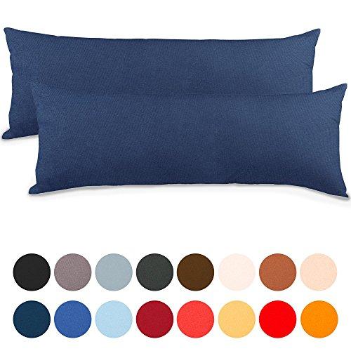 aqua-textil Classic Line Kissenbezug 2er-Set 40 x 145 cm dunkel blau Baumwolle Seitenschläferkissen Bezug Reißverschluss