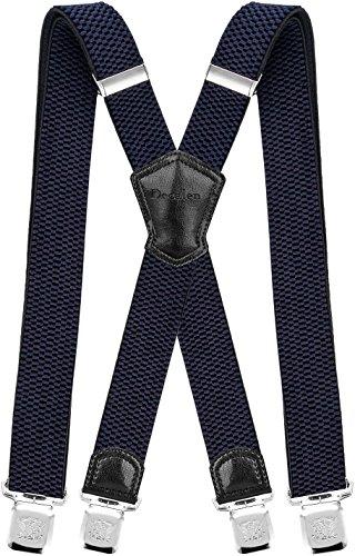 Decalen Hosenträger für Herren Breit 4 cm mit sehr Starken 4 Metall Clip Lang Einheitsgröße für Männer und Damen Einstellbar und Elastisch X Style (Marineblau)