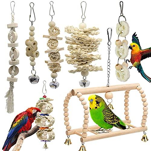 GingerUP 7 Unidades Juguetes para Pájaros Colorful Columpio para Loros Accesorios Jaula Pajaros Bite Toy con Campanas para Periquitos