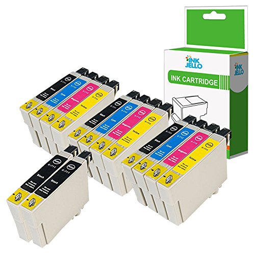 InkJello Compatibile Inchiostro Cartuccia Sostituzione Per Epson Stylus CX4300 D120 D5050 D78 D92 DX400 DX4000 DX4050 DX4400 DX4450 DX5000 DX5050 DX6000 DX6050 DX7000F DX7400 T0715 (B/C/M/Y, 14-Pack)