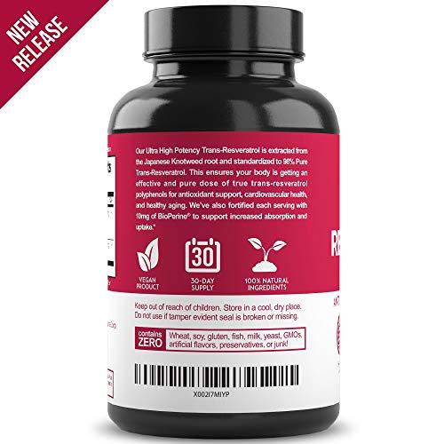 51lKuYlhzVL - New Ultra Therapeutic Resveratrol Supplement - 98% Trans Resveratrol Plus BioPerine - Antioxidant Supplement for Anti Aging and Longevity - 60 Capsule Reservatrol Supplement