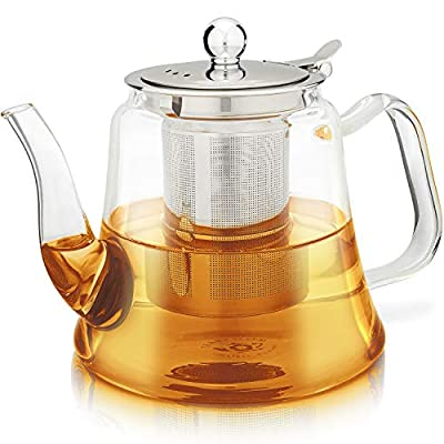 Teabloom Siena Glass Teapot – Premium Quality Borosilicate Glass Teapot With Removable Loose Tea Infuser – Stovetop Safe – Large Capacity – 40 oz. / 1200 ml (4-5 Cups)