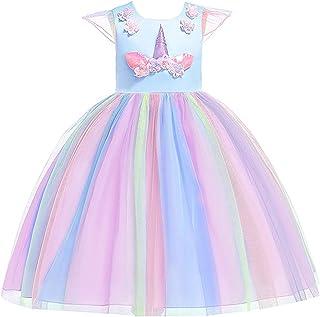 Flower Girl Light Blue Princess Dress Mesh Unicorn Christmas Dress for 9-10Y