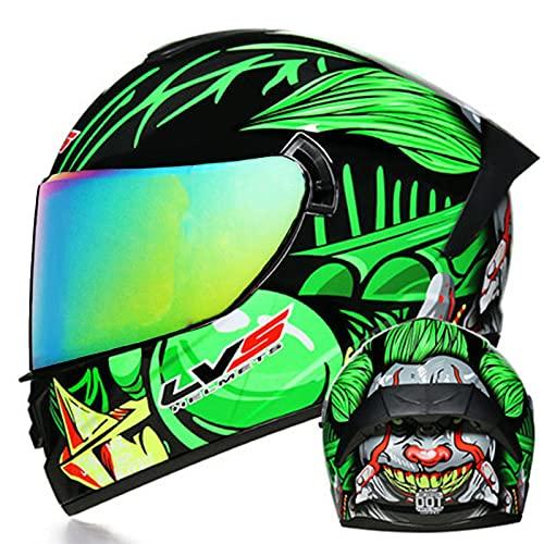 Casco retro de motocicleta de cara completa Hombres y mujeres adultos Casco Visera doble Protección cuesta abajo Casco completo Certificación ECE Cascos de motocross,3,XL 61~62cm