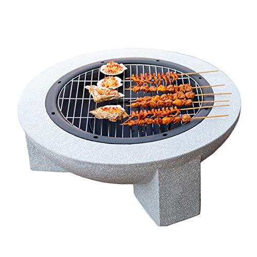 GKTF Fire Pit BBQ Stufa, Braciere Esterno 75 cm di Diametro Pietra Ricostituita Griglia per Barbecue Inclusa Design Semplice,A
