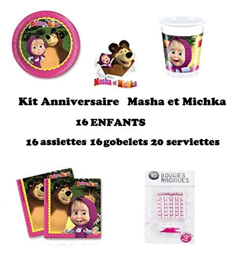 Uni que Set cumpleano Masha y el Oso Michka Decoración Cumpleaños 52 Piezas (16 Platos,...