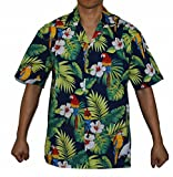 Made in Hawaii ! Men's Hibiscus Parrots Hawaiian Luau Cruise Aloha Shirt (L, Navy)