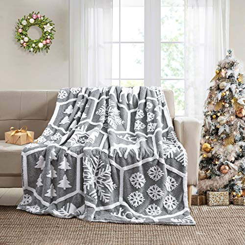 Ompaa Fuzzy Christmas Blankets and Throws, Super Soft Fluffy Sherpa Fleece Blanket for Couch Bed, Plush Xmas Holiday Blanket with Snowflake Pattern (White, 50' x 60')