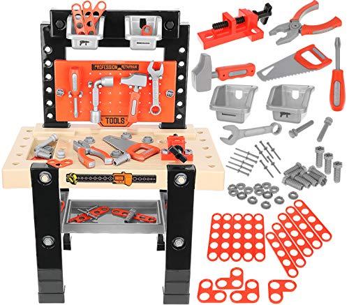 ISO TRADE Werkbank Spielzeug Rollenspiel Kinderbank Werkzeugset mit Zubehör Heimwerker Werkstatt für Kinder 9420
