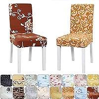 花柄ダイニングチェアーカバー 椅子フルカバー 16色 伸縮素材 座面+背部用取り外し可能 洗濯可能 家庭・ホテル用 ・結婚式・パーティーに適合,ギフト - チェアマット付き(#15,1枚セット)